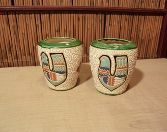 Vintage Vietnamese Ceramic Pair of Vase Dove Design