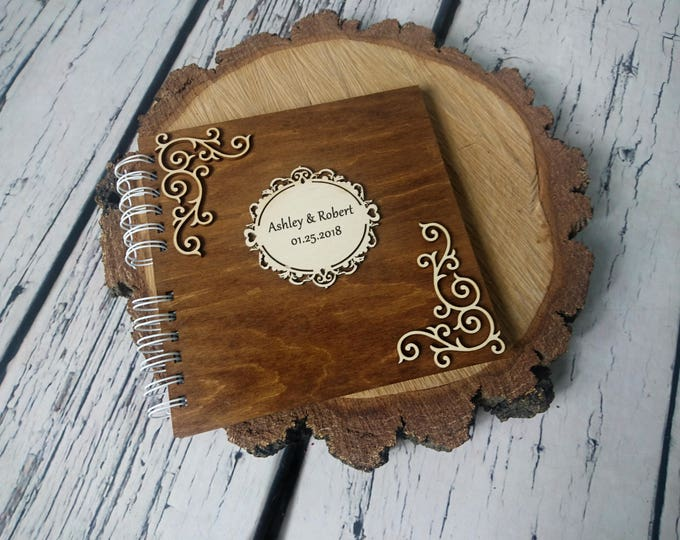 Personalized wedding wooden guest book ornaments love writings laser natural woodland Celtic original puzzle retro bicycle couple