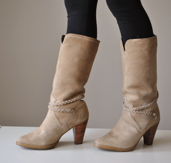 Suede Size 2 Midi Rope Boots~Womens amp; 1970s 1 4 67qZwFc
