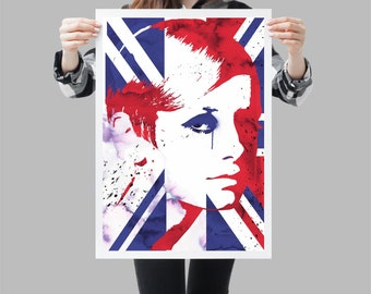 Twiggy pop art style portrait - UK flag wall print - Available in different sizes. Check the drop-down menu for your choice