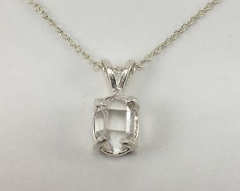 """5x8mm Herkimer Diamond Pendant, Raw Natural Uncut Double Terminated Quartz Crystal Herkimer Diamond Necklace, 16"""" Sterling Silver chain"""