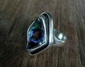Handmade Sterling Silver and Abalone Shell Ring - Sterling Paua She'll Ring - one of a kind she'll ring - Boho She'll Ring - Size 7.8