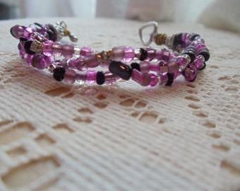 Vivacious Violet Fantasy Three Strand Braided Bracelet