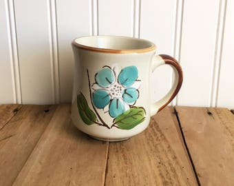 Vintage Sunnycraft Blue Floral Stoneware Mug