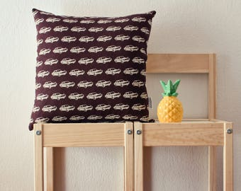 Brown pillow cover with retro cars