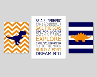 DINOSAUR Nursery Decor Dinosaur Nursery Art Set of 3 Prints for Boy Nursery - Be A Superhero Quote, Chevron Stripe Dinosaurs  8x10 and 11x14