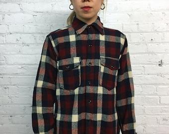 vintage 50s 60s plaid wool button down shirt / lumberjack plaid button front shirt / heritage tartan CPO shirt