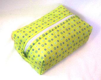 Floral Makeup Bag, Cosmetic Bag, Boxy Bag, Zipper Pouch, Toiletry Bag, Chartreuse, Blue, Purple, Travel Case, Purse Organizer