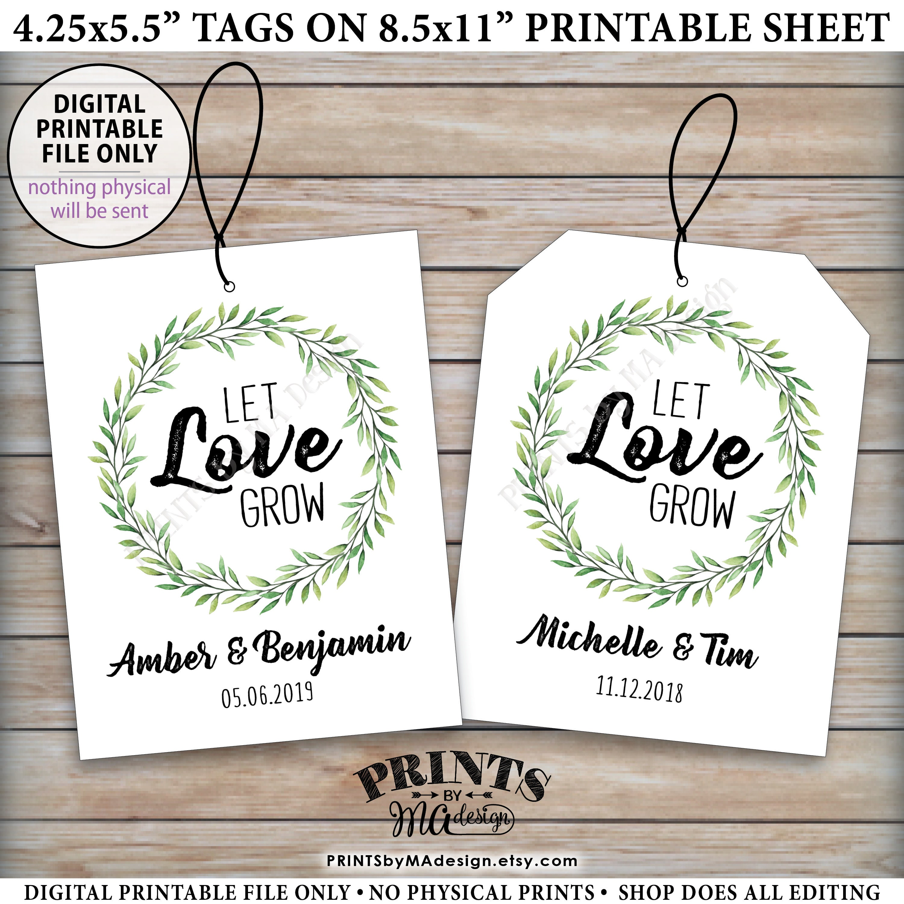 Let Love Grow Tags, Wedding Greenery Tags, Succulents Seeds ...