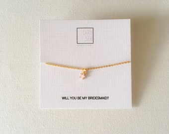 Personalised bridesmaid gold plated star charm necklace