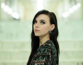 Black ear jacket, pyrite gemstones, ear jacket, black front back earrings, black earrings