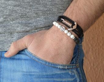 Lion bracelet, men's bracelet, beaded bracelet, bracelet for men, lava bracelet, lava stone bracelet, charm bracelet , bracelet for men lion