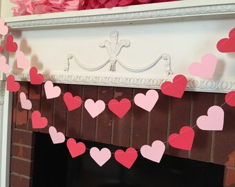 Valentines Day Decorations /10 foot Pink and red Heart Garland / Bridal Shower Decor / Valentines Birthday Garland - Valentines Photo Prop