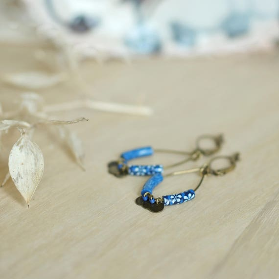 Indigo blue boho earrings 'Abelia' brass drops with two handmade blue floral patterns and bronze sequins