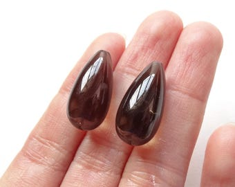 Smoky Quartz Half Top drilled Smooth Fat Teardrop Briolettes 10x20 mm 1 Pair for earrings F4427