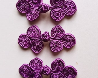 Bright purple frog closure. 3 scroll. Set of 3