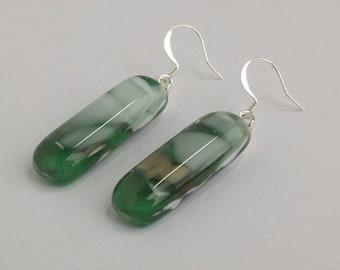 Fused Glass Earrings, Pebble Look, One of a Kind, Wearable Art, Handmade Jewelry