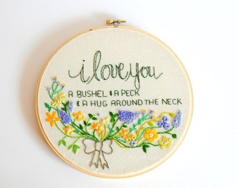 Baby Nursery Art, Floral Nursery Art, First Birthday Gift, Baptism Gift, Floral Embroidery Art, Nursery Rhyme Art, KimArt, Gifts for Baby
