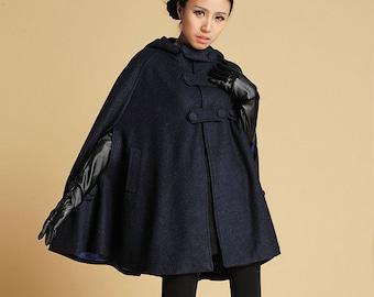 cape coat, hooded cape , Navy cape , wool cape coat, womens cape , blue cape , poncho cape, winter cape , personalized cape , cloak 391