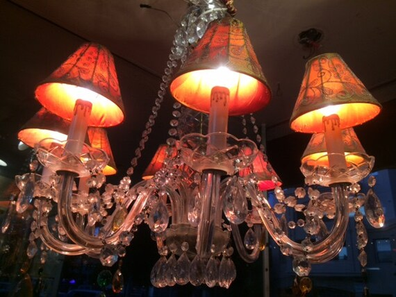 Glass Chandelier vintage with eight lights