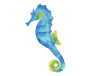 Watercolor Seahorse Clipart Painting Print, Hand Painted Watercolor Clip Art PNG Instant Digital Download, Printable Sea Creature Wall Art