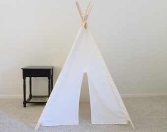 Kids Teepee with poles Play Tent  fort Wigwam Made to Order White Play Tent Kids White Tent  Gift for Kids