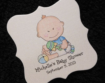 Personalized Baby Shower Favor Tags, baby boy with toys, set of 20
