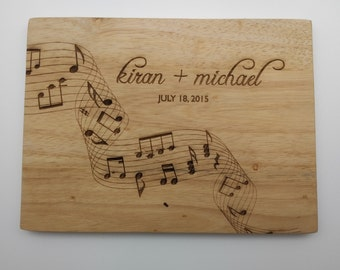 Personalized Music Lover Custom Cutting Board: Small, Medium, Large, Bamboo and Hardwood