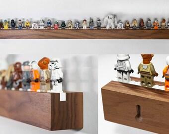 Long Hardwood Shelf for 25 to 33 Lego® Minifigs