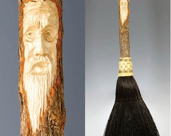 Hand Carved Fireplace Hearth Broom in choice of Natural, Black, Rust or Mixed Broomcorn, with Tree Spirit Wizard Carving Old Man Face