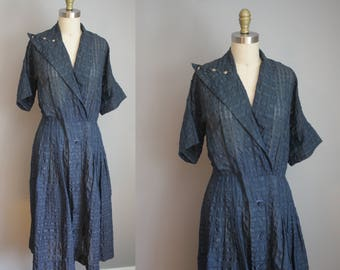 1950s Dress // Textured and Sheer // Large