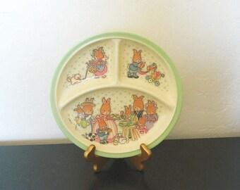 Zak Designs Divided Melamine Plate - Bunny Family - Cara 1994 Children's Plate