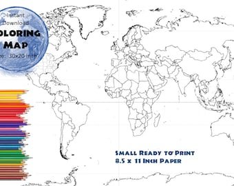 World Map Coloring Page Labeled World Map A4 and 8.5x11 inch