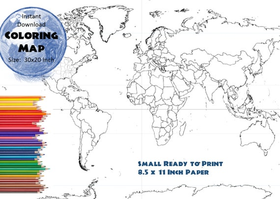 World map coloring page black white map countries outline world map coloring page black white map countries outline map without labels 85x11 inch from colormyworldmaps on etsy studio gumiabroncs Image collections