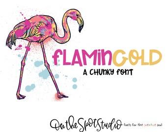 FLAMINGOLD / whimsical font / print font / handlettered font / OTSS / chunky / bold / handwriting