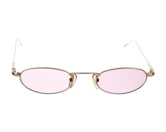 90s GUCCI Dainty Gold Metal Cat Eye / Y2K Millennium / Techno / Minimal Vintage Designer Sunglasses w/ Pink Purple Tinted Lenses