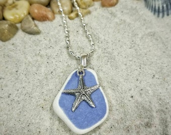 Cornflower Blue Sea Pottery and starfish charm necklace