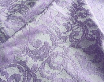 Jacquard  Fabric Light Violet color Lace style Fabfic dress