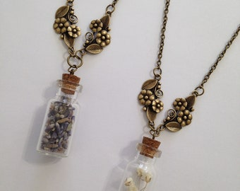 Lavender and Babies Breath Bottle Charm Necklace