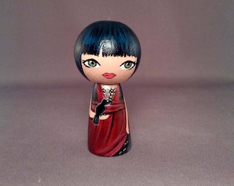 Little Gothic girl with raven Wooden Handpainted Kokeshi Doll