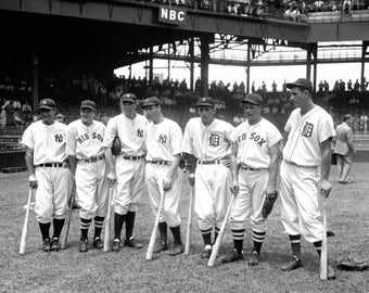 Players in 1937 Baseball All-Star Game Including Lou Gehrig, Joe DiMaggio, Jimmie Foxx & Hank Greenberg - 5X7, 8X10 or 11X14 Photo (EP-015)