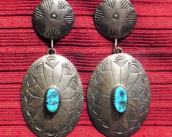 Large Navajo Stamped Sterling Silver Turquoise Concho Dangle Earrings