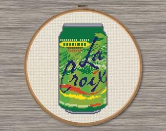 La Croix Key Lime Soda Can - PDF Cross Stitch Pattern