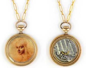 """Antique 1899 Gold filled Waltham Pocket Watch Movement and Davinci's Drawing of """"Angel"""" Steampunk Necklace"""