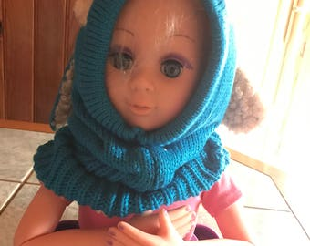 Hood with ears - children from 12 to 36 months - blue - acrylic