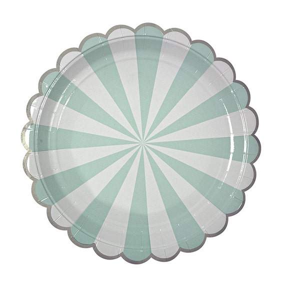 Aqua Striped Paper Plates Large Mint and White Plates by Meri Meri Toot Sweet Aqua Party Plate Aqua Wedding Mint Wedding Aqua and White from ...  sc 1 st  Etsy Studio & Aqua Striped Paper Plates Large Mint and White Plates by Meri Meri ...