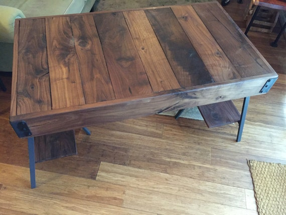 Rustic / Industrial Walnut Wood Desk - Cart Style Top with Trestle Legs