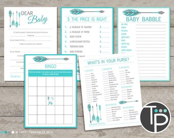 Tribal Baby Shower GAMES, Instant download BABY SHOWER Games, Tribal Arrow Baby Shower Games, Arrow Baby Shower, Teal Tribal Baby Shower