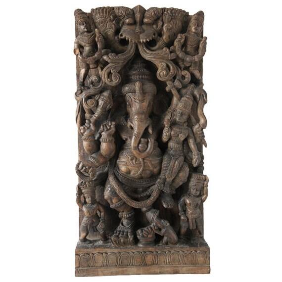 Large  Wood Carving Ganesh, India