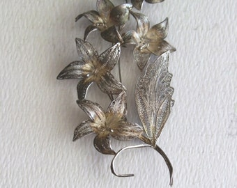 Vintage Sterling Silver Flower Brooch by avintageobsession on etsy...FREE USA Shipping